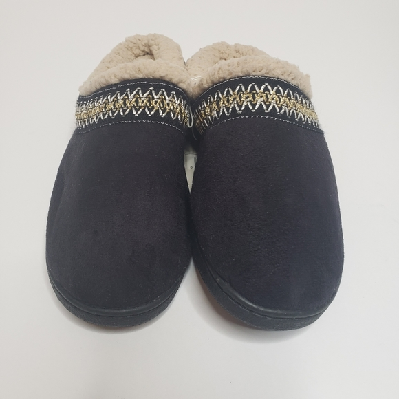 Pine Ridge Isotoner wmns sherpa black slippers